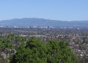 "View of downtown San Jose (""the capital of Silicon Valley"") from the Los Gatos hills"