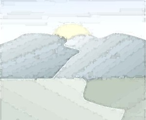 Artistic sketch of the terrain for a hillside home