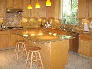 870 Brevins Loop, San Jose (Willow Glen) Island Kitchen with slab granite counters & stainless steel appliances