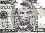 The cash challenge - the Lincoln 5 dollar bill as a jigsaw puzzle