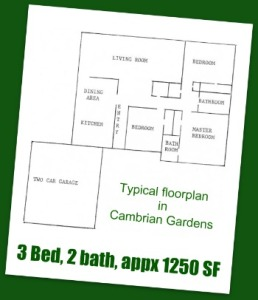 Typical Cambrian Gardens Floorplan: 3 bed, 2 bath, about 1250 SF (San Jose neighborhood)