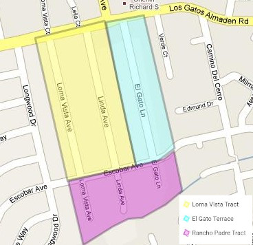 Map with Key: Loma Vista, El Gato, and Linda