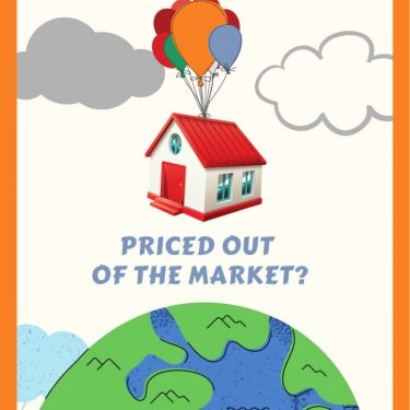 "Home being carried up and away from earth by balloons with the words ""Priced out of the market?"""