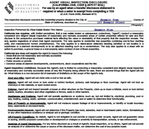 Agent Visual Inspection Disclosure, top of page 1