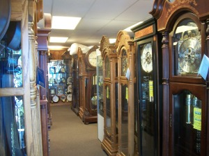 Grandfather clocks at Almaden Clocks in San Jose