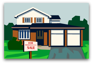 Graphic image of a house with a for sale in front