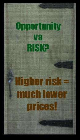 Opportunity vs Risk - Higher Risk = Much Lower Prices!