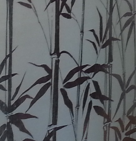 Foil bamboo wallpaper sample found in a bathroom