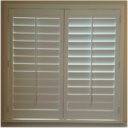 Window with plantation shutters