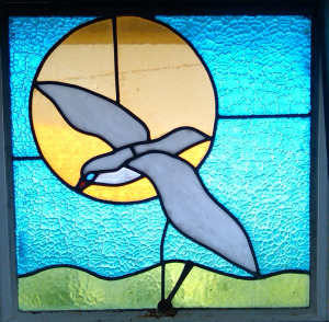 seagull in stained glass