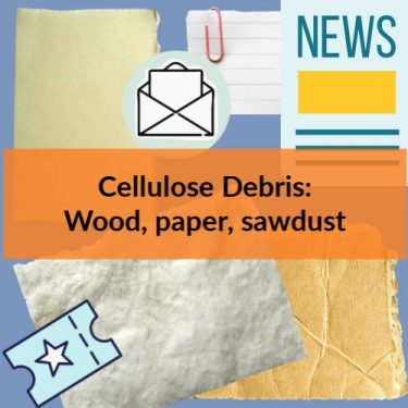 Cellulose debris samples - newspaper, mail, parchment, paper ticket