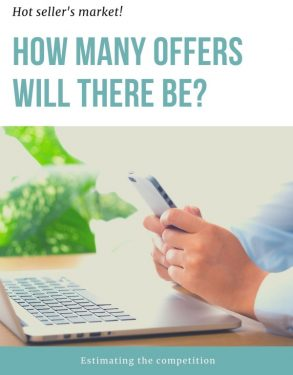 "Graphic of person with computer and cell phone and words ""How many offers are expected for that listed home?"""