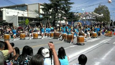 San Jose Taiko performing outside the temple for Obon