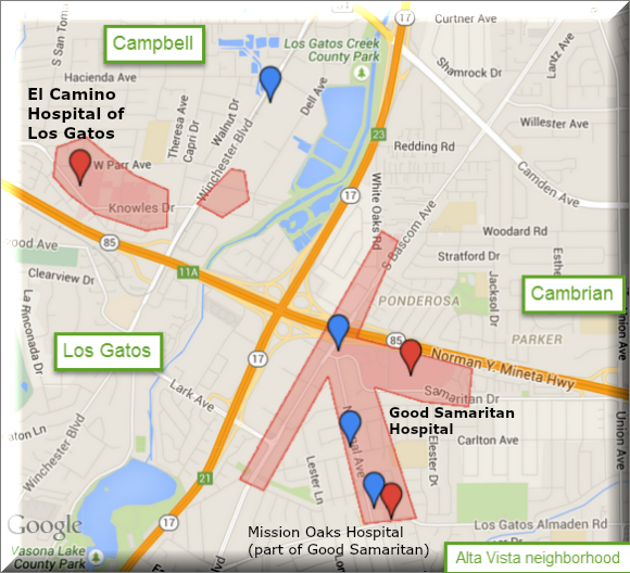 Los Gatos, Campbell, and Cambrian border medical concentrations