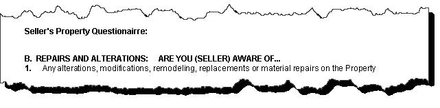 CAR seller disclosure: Seller Property Questionairre