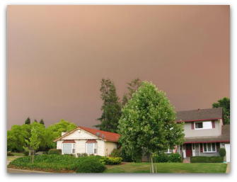 Smokey sky from fire June 2008