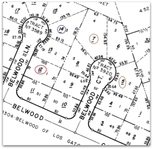 Plat Map of Belwood Lane and Belwood Court
