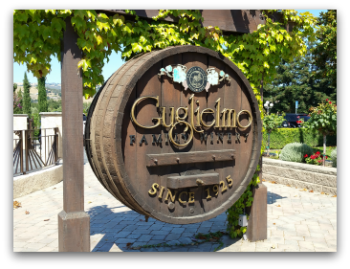 Guglielmo Winery in Morgan Hill - wine barrel sign