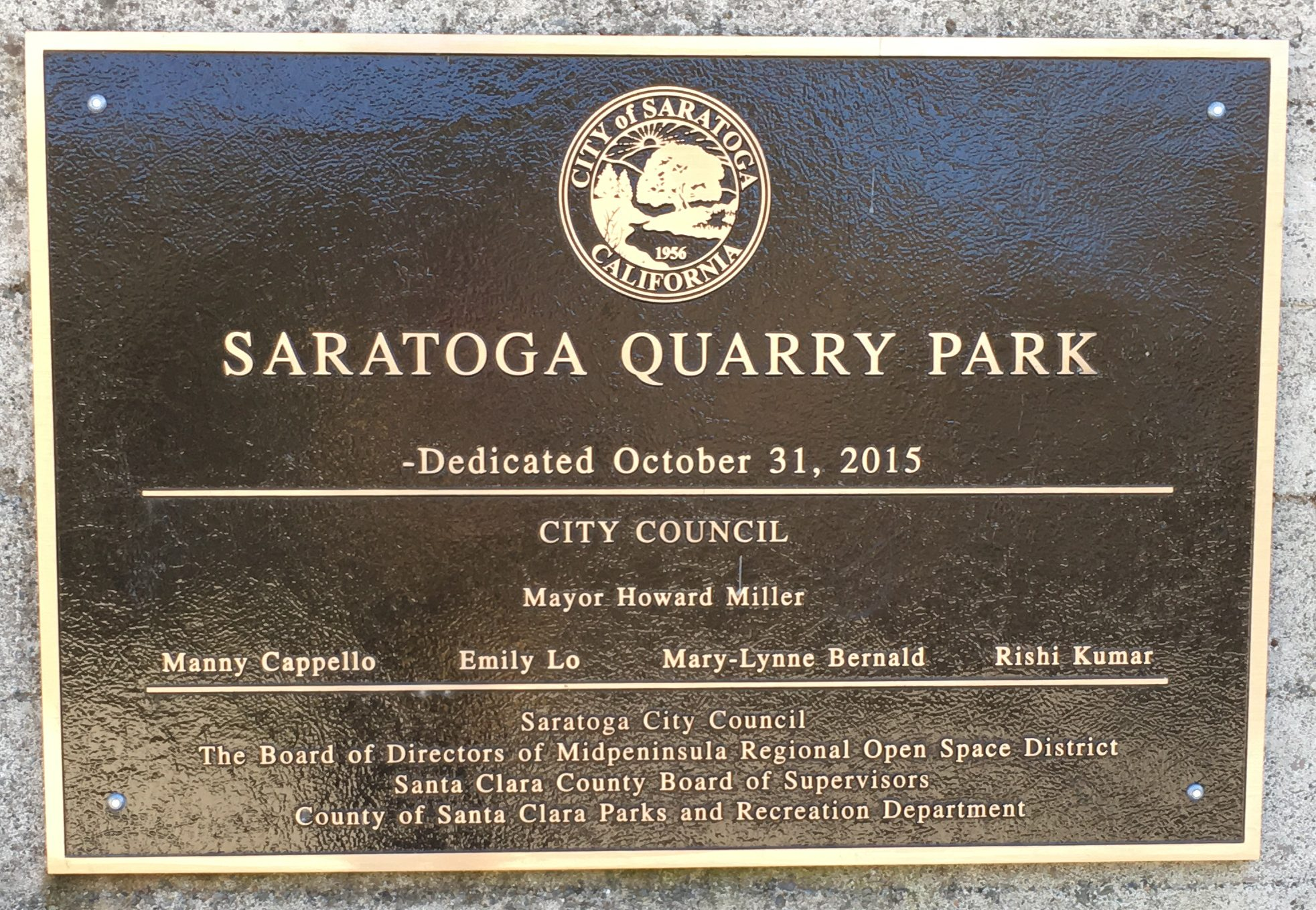 Saratoga Quarry Park plaque
