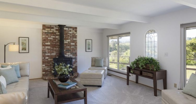 Family room with windows overlooking the orchard and coastal range