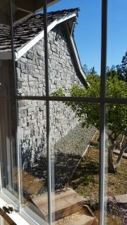 18632 Woodbank Way Saratoga CA 95070 - stone wall behind garage