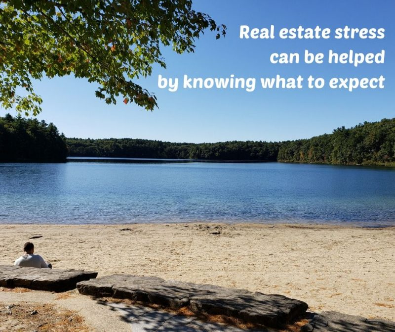 "Photo of Walden Pond and the words ""Real estate stress can be helped by knowing what to expect"""