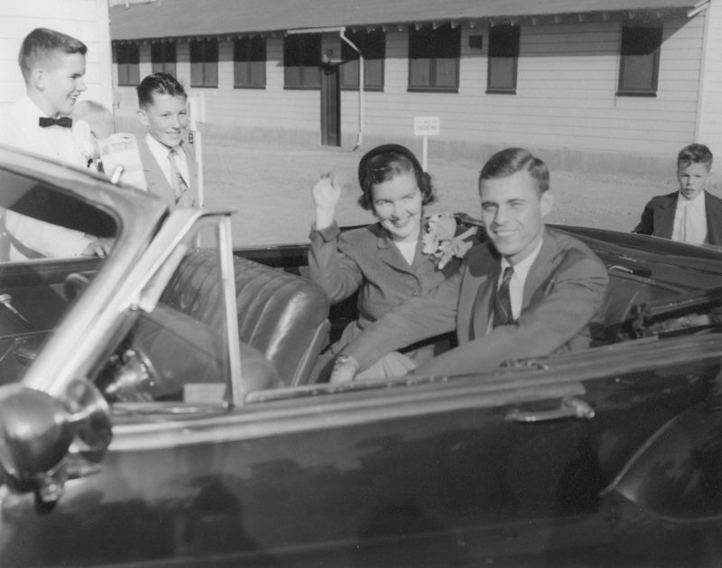 John Pope and bride Patricia Buckley Pope on their wedding day August 1954 Convertible