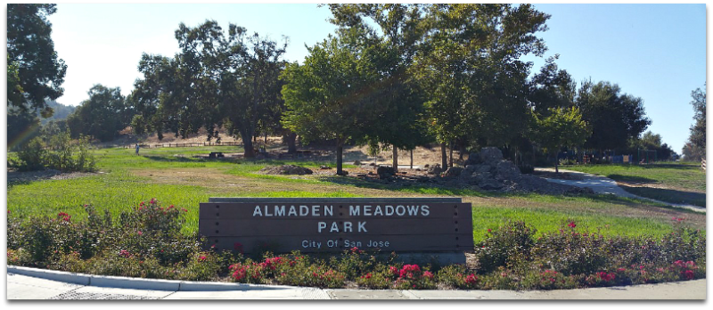 Sign for Almaden Meadows Park in San Jose CA 95120