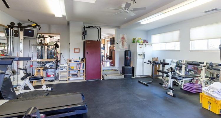 Windows help make this garage a great home gym