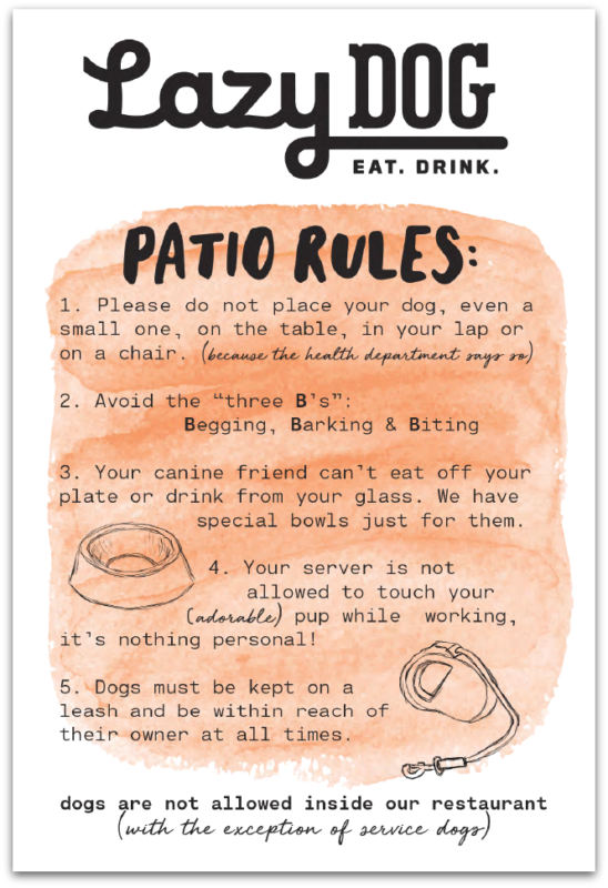 Lazy Dog Patio Rules