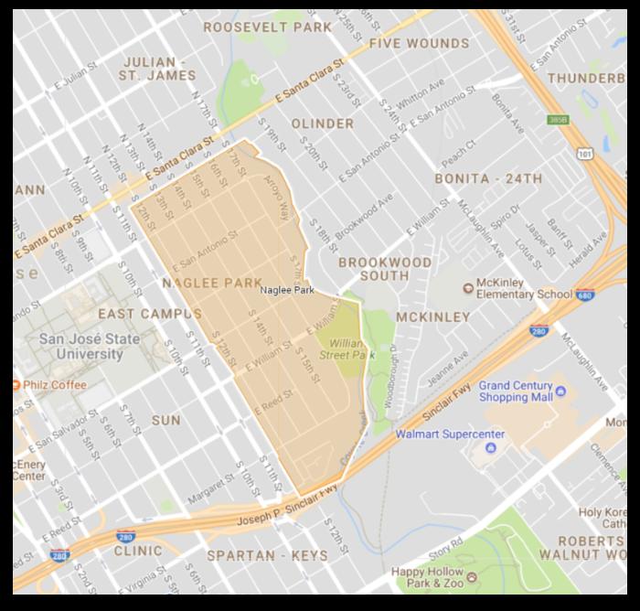 Map of the Naglee Park neighborhood