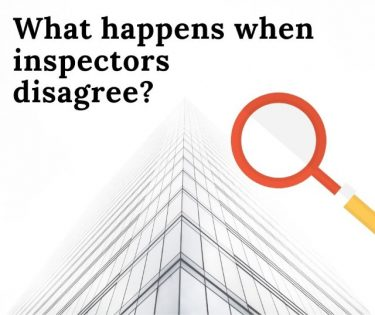 "Graphic of tall building, magnifying glass, and words ""What happens when inspectors disagree?"""