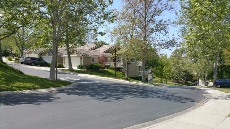 One of the streets within the California Ridge neighborhood