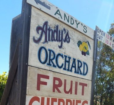 Andy's Orchard in Morgan Hill sign