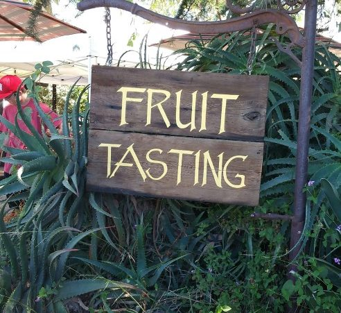 Fruit tasting sign