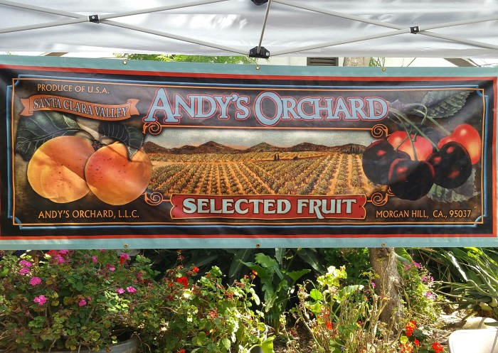 Andy's Orchard Morgan Hill old style fruit banner