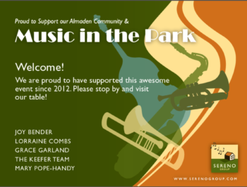 Almaden Music in the Park sponsors Mary Pope-Handy and other Sereno agents