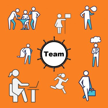 Teamwork graphic representing the Mary Pope-Handy Team - cartoons of people in various roles around the spoke of a wheel with the word TEAM at the center of the wheel