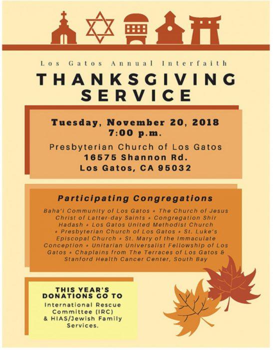 2018 Thanksgiving Interfaith Service in Los Gatos