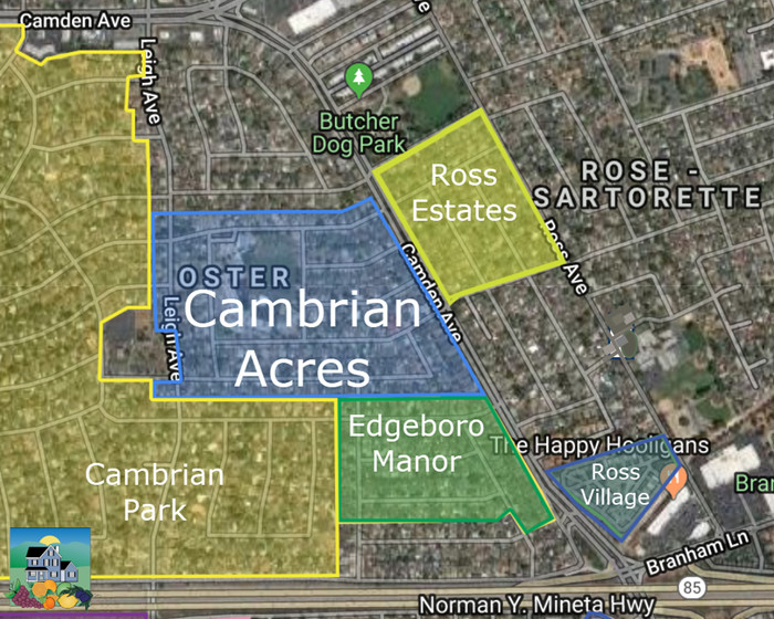 Map - Cambrian Acres location within Cambrian Park, San Jose 95124