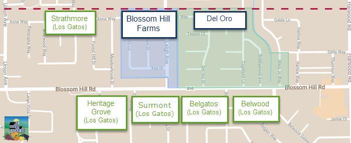 Map - Blossom Hill Farms Cambrian Los Gatos border
