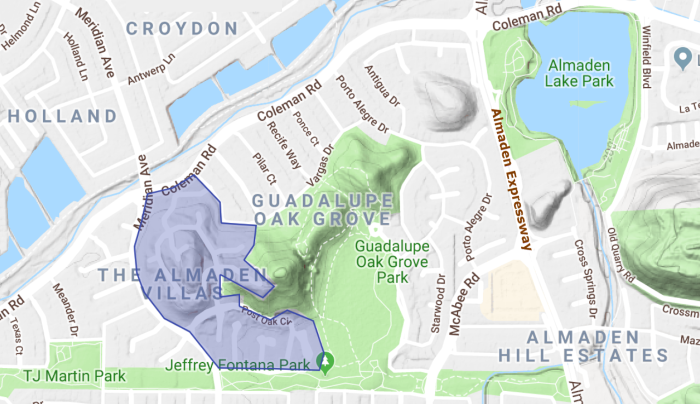 Villas of Almaden topgraphical map