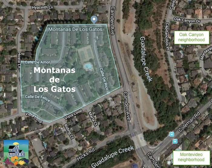 Map of the Montanas de Los Gatos map - off Camden Avenue in San Jose