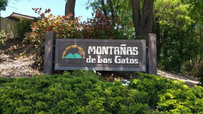 Montanas de Los Gatos sign at Camden and Vista Loop