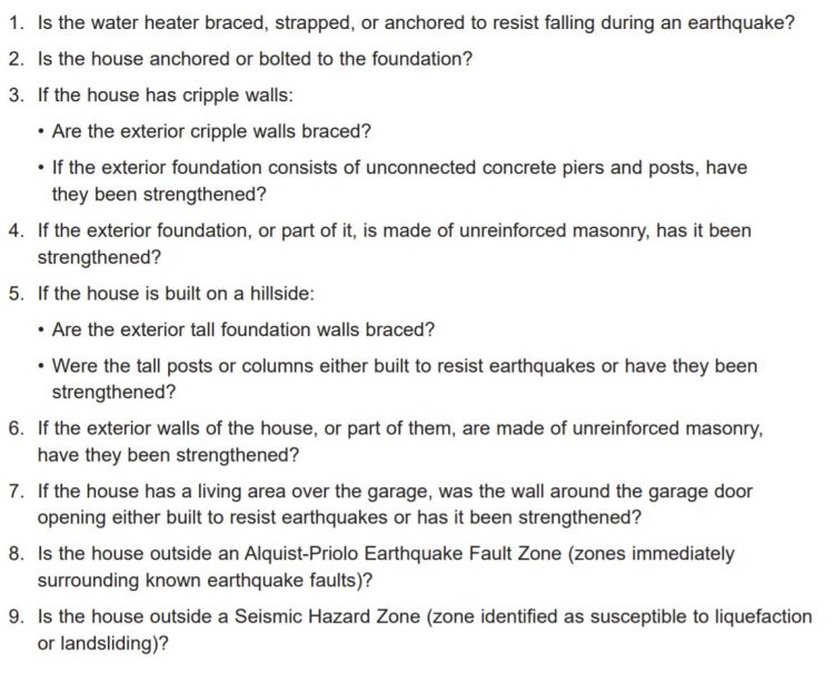 Residential Earthquake Hazard Report for pre 1960 construction