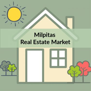 Graphic: House and yard with words Milpitas Real Estate Market