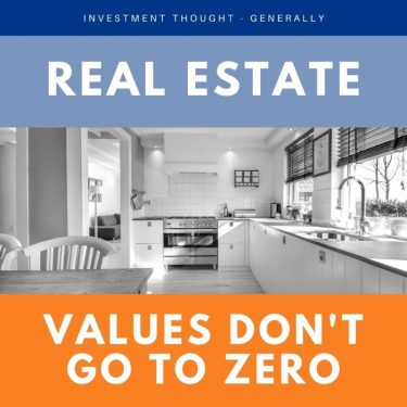 Image of a kitchen and words Investment thought - real estate values don't go to zero