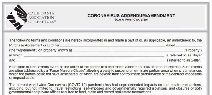 Image shows a small portion of the new California Association of Realtors addendum for coronavirus complications in escrow and delays because of COVID 19