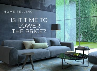 Image of a living room with the words: Home selling Is it time to lower the list price?