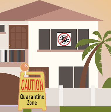 Graphic of a house under quarantine